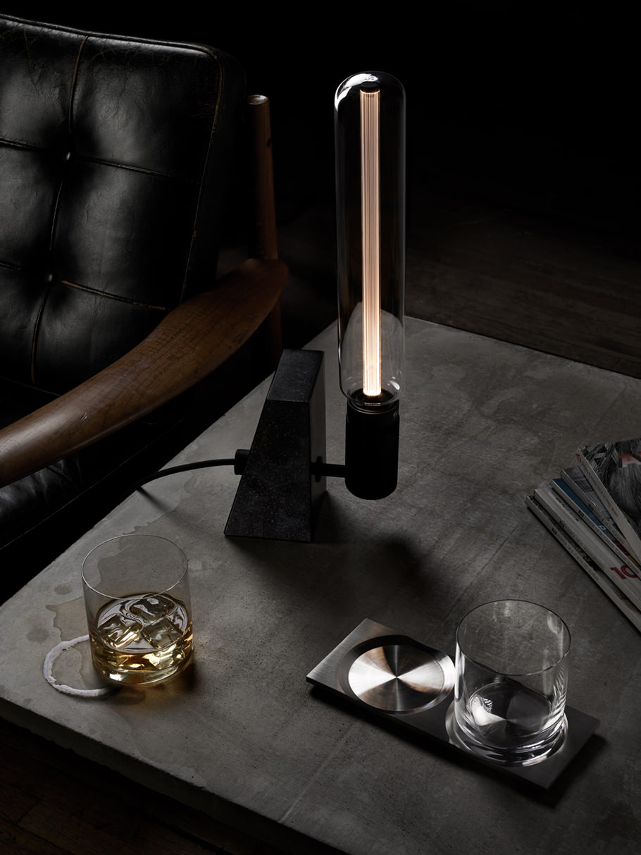 STONED / Honed Black Granite – Table light made from solid stone