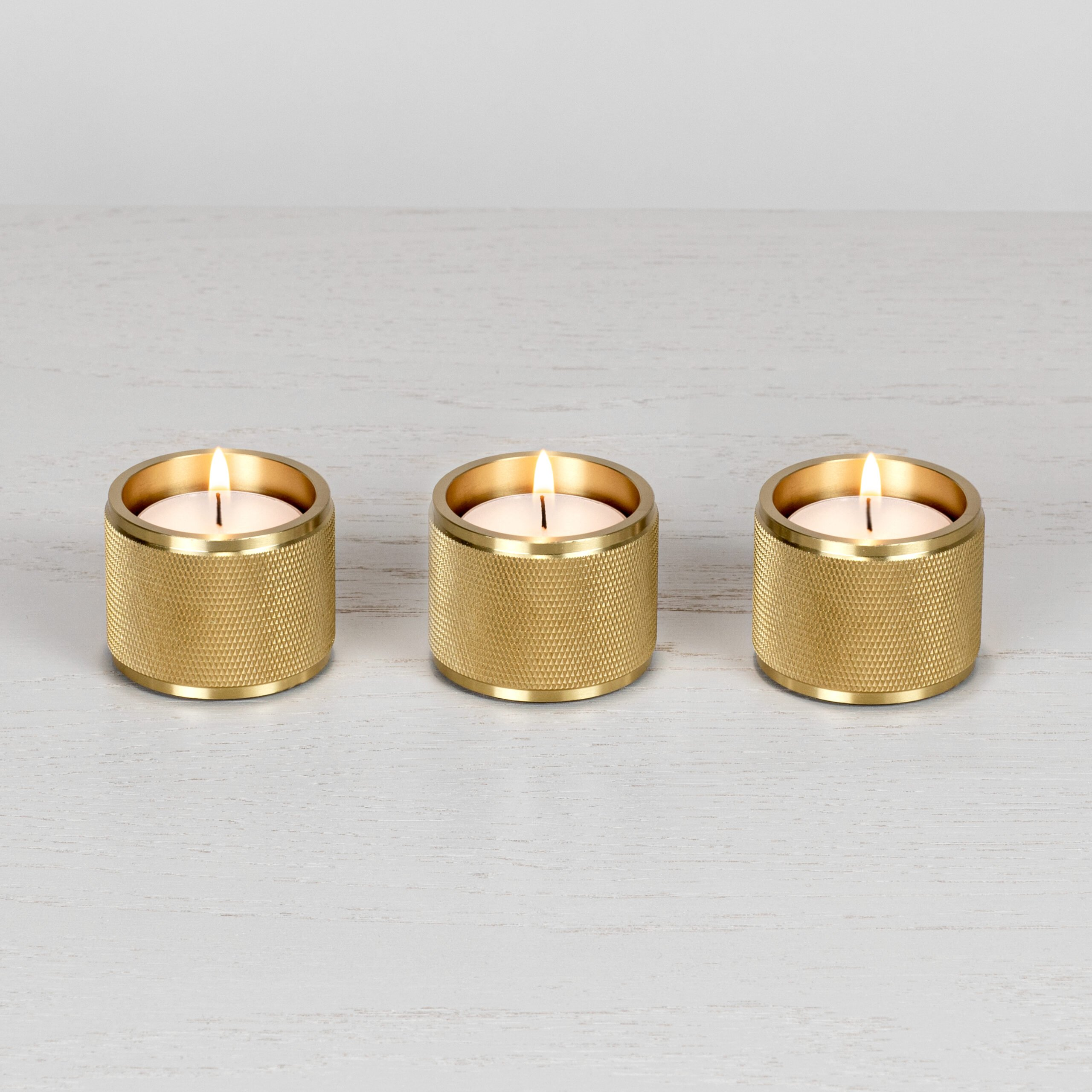 2. Buster+Punch_Tealight_Candle_Holders_Set of 3_Brass_Front_on