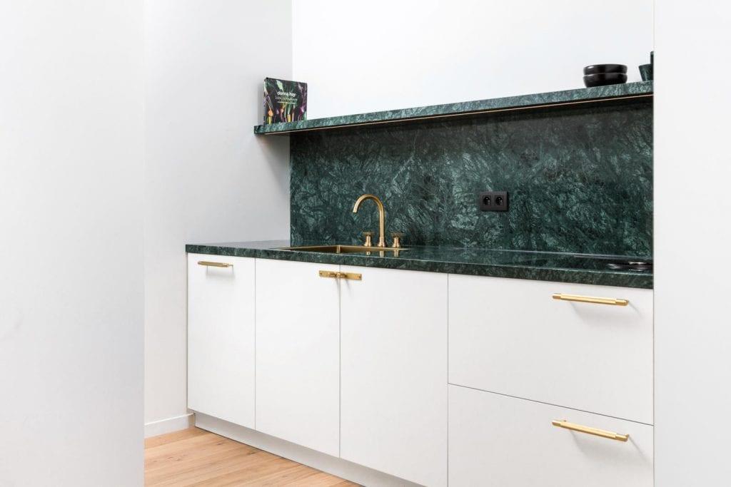 Green marble + Brass