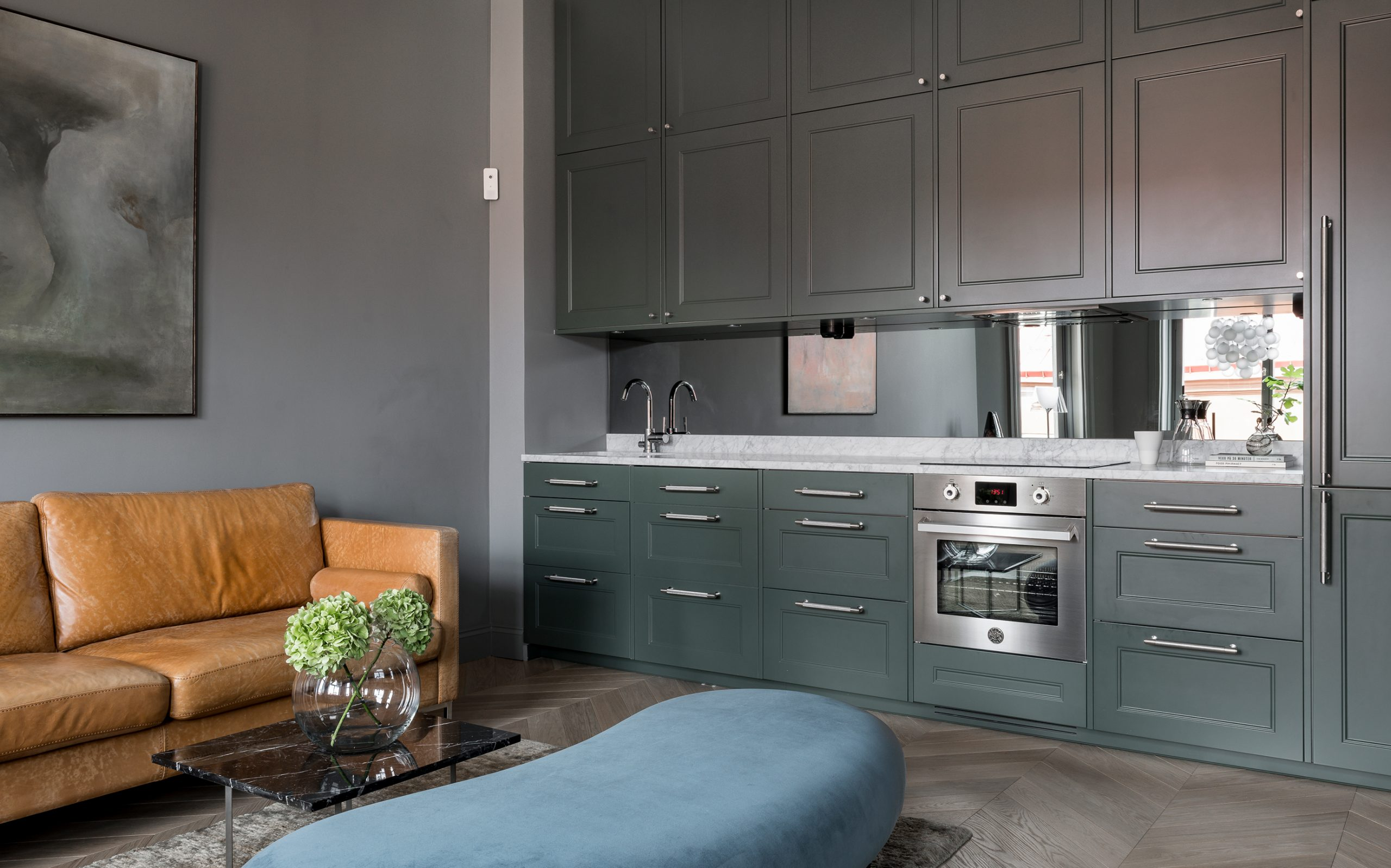 Green kitchen with Buster + Punch Steel hardware