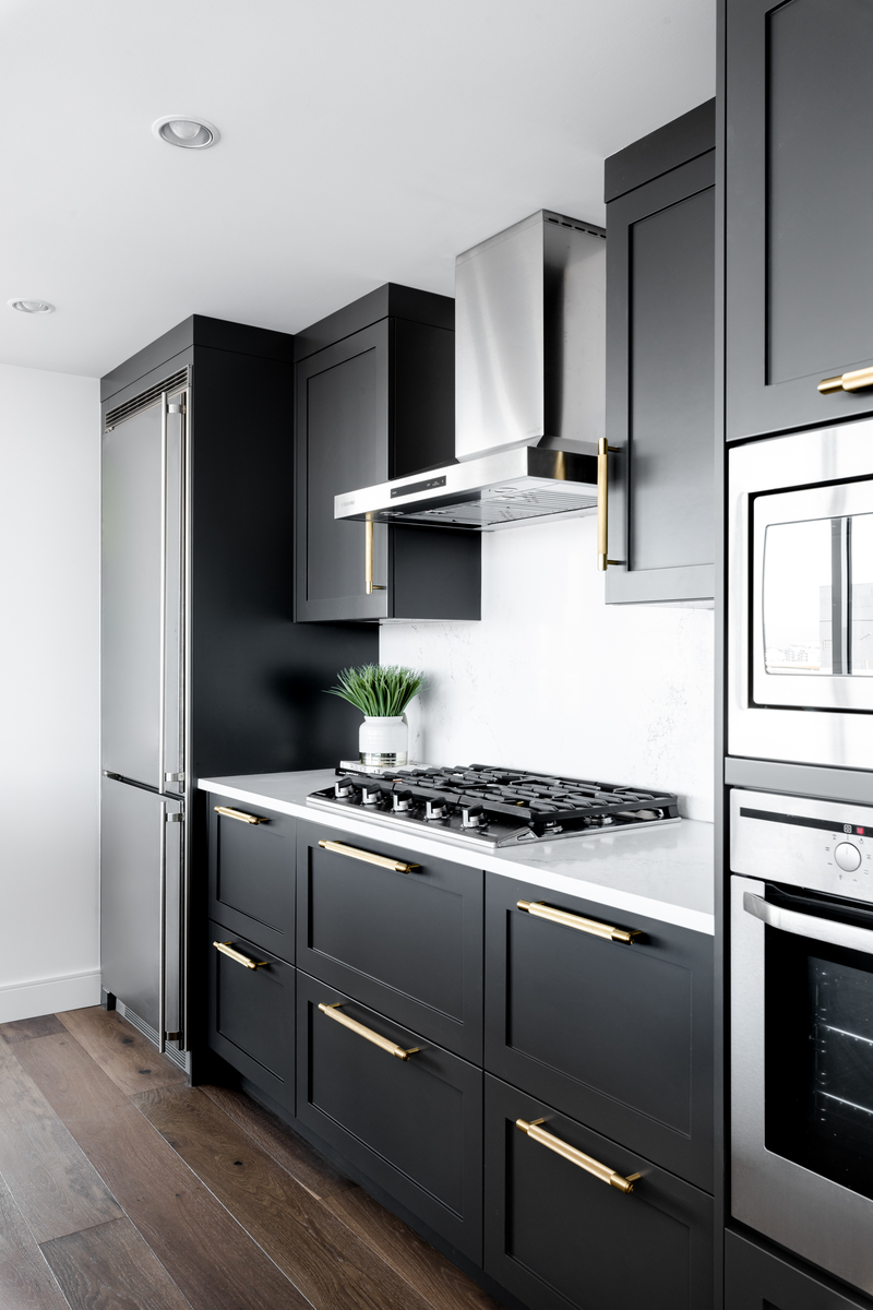 Black Cabinet Kitchen with Brass Details - Buster + Punch