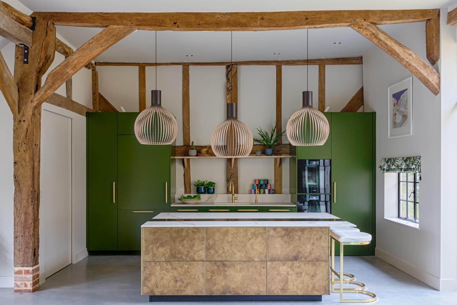 green brass kitchen